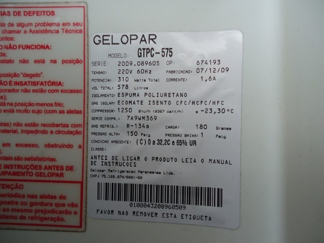 Resfriador Gelopar GTPC 575 578 Litros