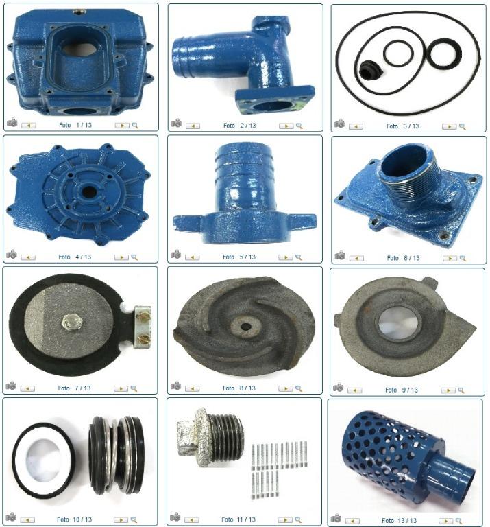 Kit para Motobomba, com Tampa, Rotor, Carcaça, Selo e Bujão