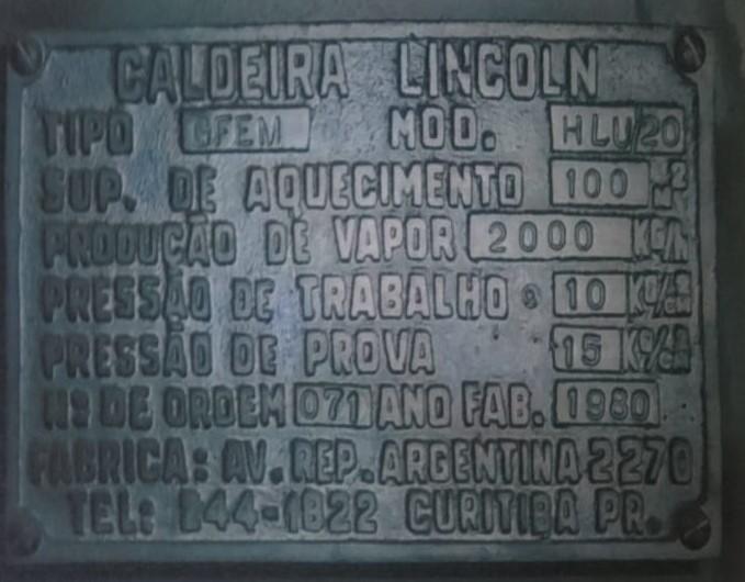 Caldeira de Vapor a Lenha com Fornalha Lincoln HLU/20 1980