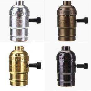 Soquete Retrô de Metal com Interruptor e Acabamento em Alumínio /E27